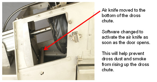 Air knife for dross chute.